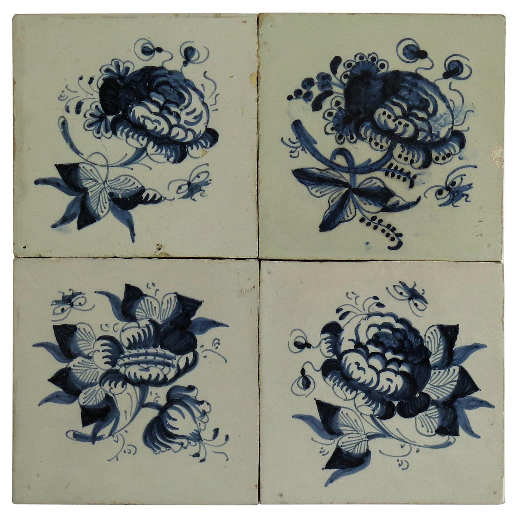 Four 17th Century Delft Blue and White Wall Tiles on Frame Set 1, Netherlands
