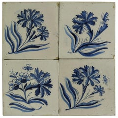 Four 17th Century Delft Blue and White Wall Tiles on Frame Set 2, Netherlands