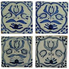 Four 17th Century Delft Ceramic Wall Tiles Blue and White Tulip Pattern, Dutch
