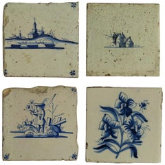 Four 17th Century Dutch Delft Ceramic Wall Tiles Blue and White Hand Painted