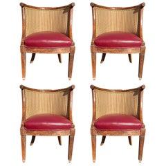 Four 18th-19th Century Italian Neoclassical Directoire Walnut Barrel Hall Chairs