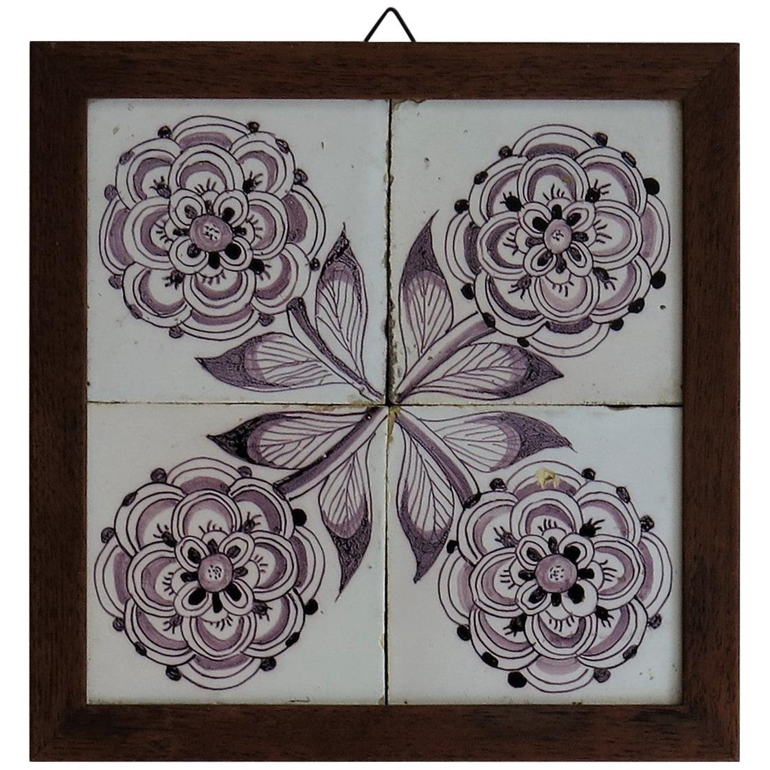Four 18th Century framed Ceramic Tiles Delft Frisian Rose Manganese, circa 1760