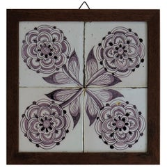 Four 18th Century framed Ceramic Tiles Delft Frisian Rose Manganese, circa 1760