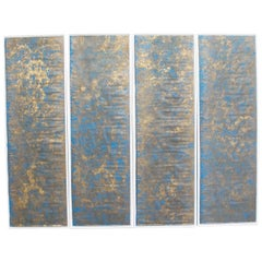 Four 18th Century Hand Gilded and Blue Laminated Wall Covering Panels