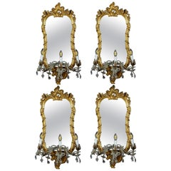 Four 18th Century Italian Giltwood Mirrors or Wall Lights Roma, 1750