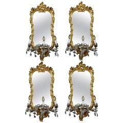 Four 18th Century Italian Giltwood Mirrors or Wall Lights Roma, 1750