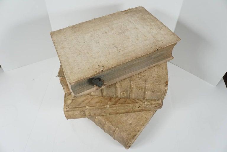 Four 18th Century Vellum Covered Latin Books For Sale 3