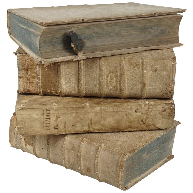 Four 18th Century Vellum Covered Latin Books For Sale