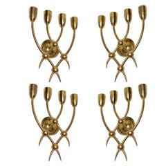 Four 1940s Brass Sconces by Guglielmo Ulrich