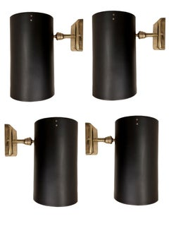 Four 1950s Lighting Sconces in Black Lacquered Iron