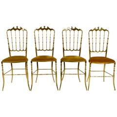 Four 1960s Brass Chiavari Chairs Designed by Giuseppe Gaetano Descalzi