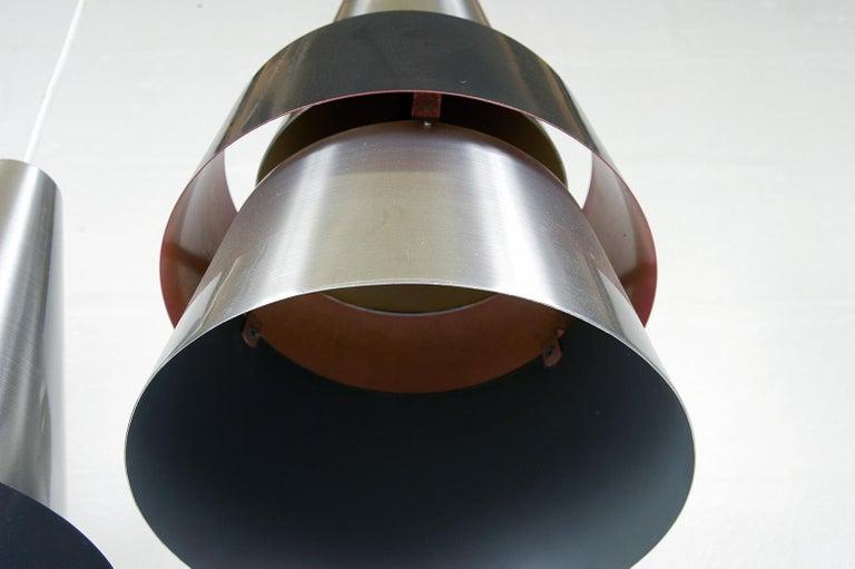 Four 1960s Danish Corona Ceiling Lamps Pendants by Jo Hammerborg for Fog & Morup For Sale 7