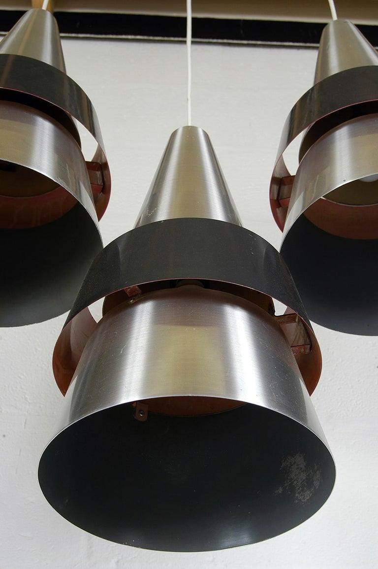 Four 1960s Danish Corona Ceiling Lamps Pendants by Jo Hammerborg for Fog & Morup For Sale 3