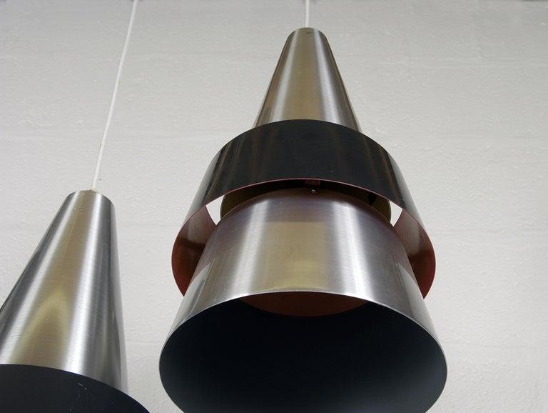 Four 1960s Danish Corona Ceiling Lamps Pendants by Jo Hammerborg for Fog & Morup For Sale 6