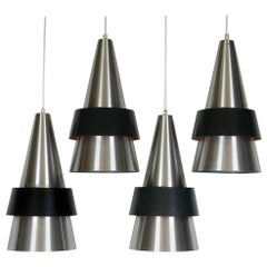 Four 1960s Silver Danish Corona Ceiling Lamps Pendants by Hammerborg Fog & Morup