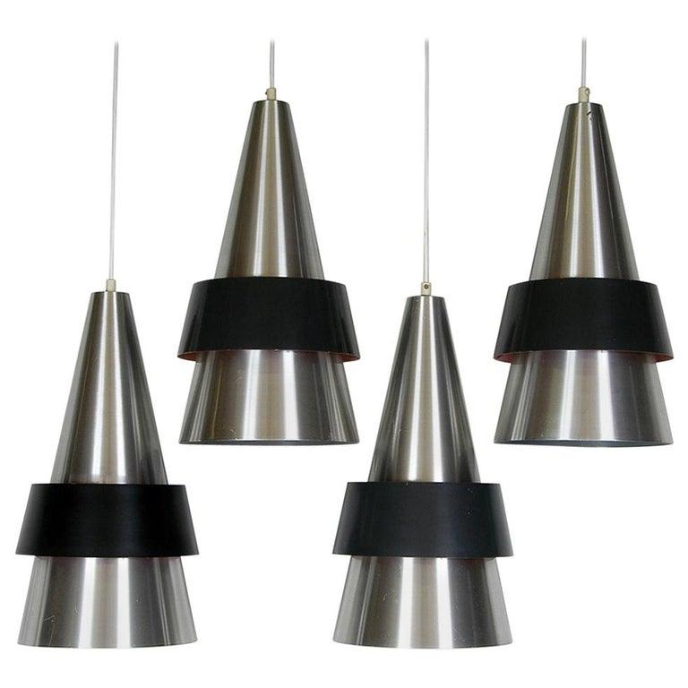 Four 1960s Danish Corona Ceiling Lamps Pendants by Jo Hammerborg for Fog & Morup For Sale
