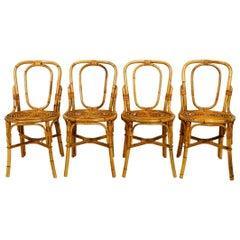 Four 1960s Italian Bamboo Dining Room Chairs in a Very Good Vintage Condition