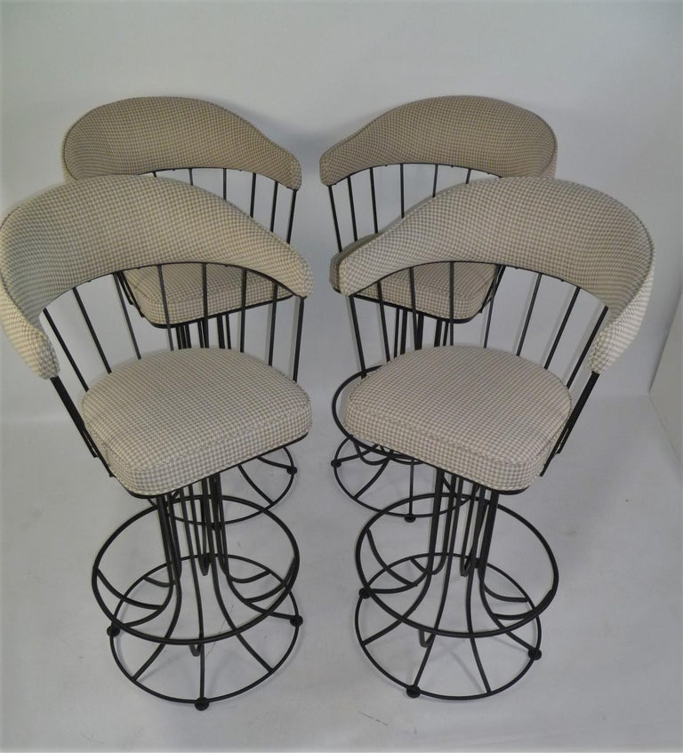 Four 1960s Swiveling Bar Stools Upholstered in Houndstooth Anton Lorenz Inspired For Sale 5