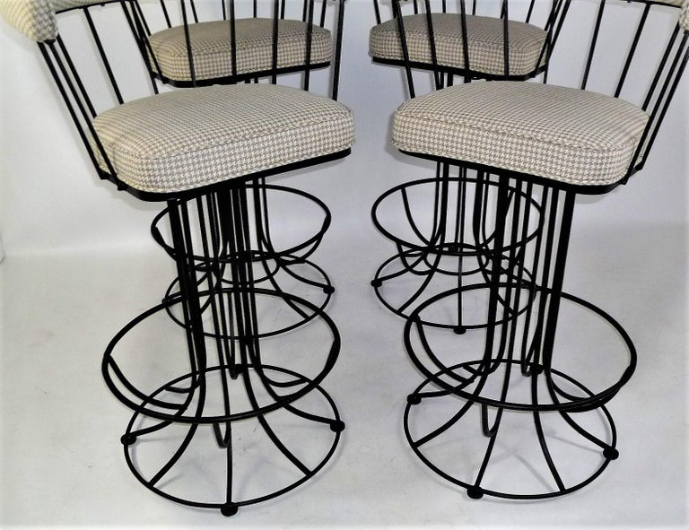 Mid-Century Modern Four 1960s Swiveling Bar Stools Upholstered in Houndstooth Anton Lorenz Inspired For Sale