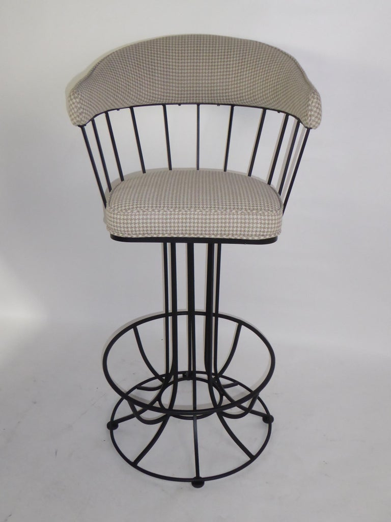American Four 1960s Swiveling Bar Stools Upholstered in Houndstooth Anton Lorenz Inspired For Sale