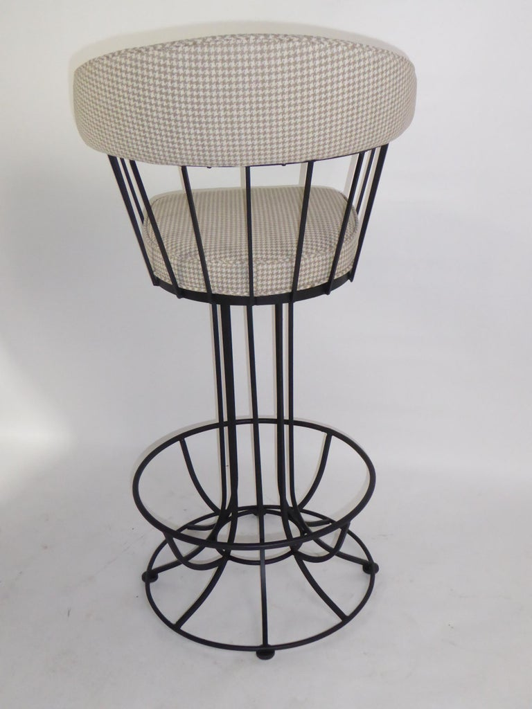 Mid-20th Century Four 1960s Swiveling Bar Stools Upholstered in Houndstooth Anton Lorenz Inspired For Sale