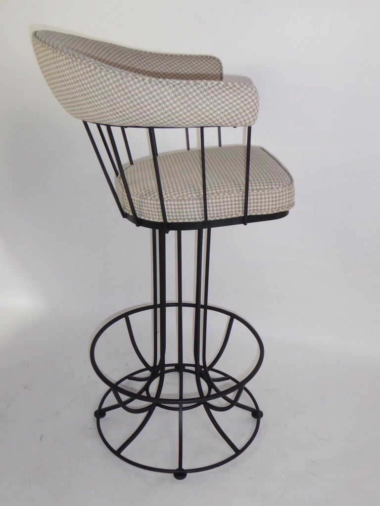 Iron Four 1960s Swiveling Bar Stools Upholstered in Houndstooth Anton Lorenz Inspired For Sale