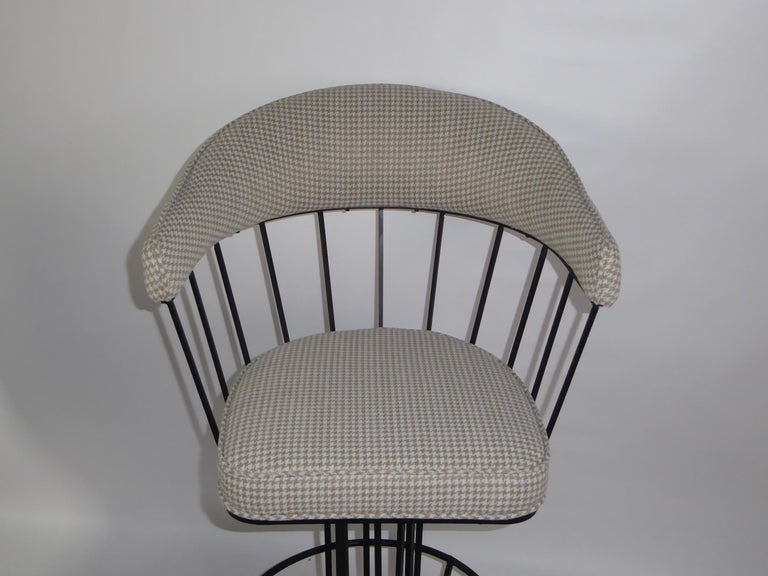 Four 1960s Swiveling Bar Stools Upholstered in Houndstooth Anton Lorenz Inspired For Sale 1
