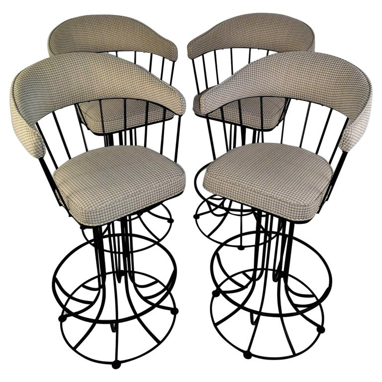 Four 1960s Swiveling Bar Stools Upholstered in Houndstooth Anton Lorenz Inspired For Sale