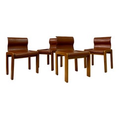 Four 1970s Italian Leather Dining Chairs Attributed to Afra & Tobia Scarpa