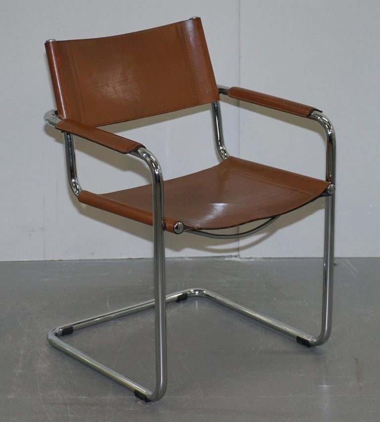 Four 1970s Matteo Grassi MG5 Marcel Breuer Cognac Brown Leather Armchairs 4 For Sale 6