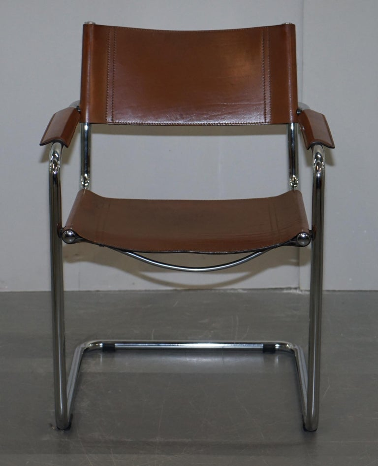 Four 1970s Matteo Grassi MG5 Marcel Breuer Cognac Brown Leather Armchairs 4 For Sale 7