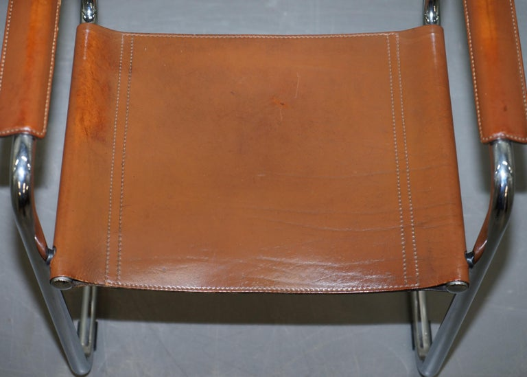 Four 1970s Matteo Grassi MG5 Marcel Breuer Cognac Brown Leather Armchairs 4 For Sale 9
