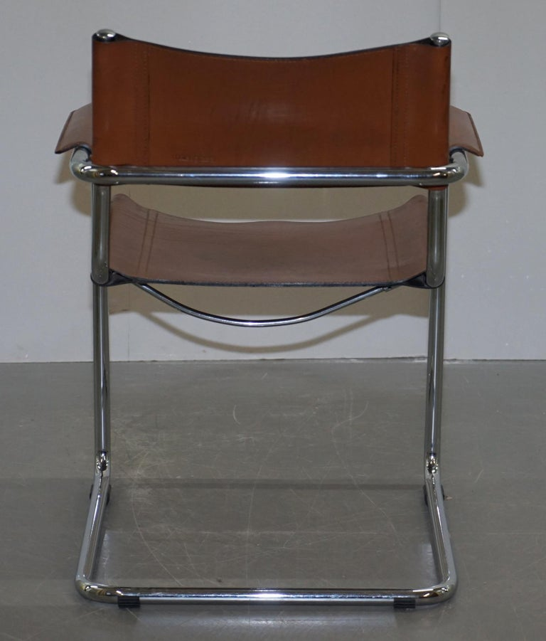 Four 1970s Matteo Grassi MG5 Marcel Breuer Cognac Brown Leather Armchairs 4 For Sale 12