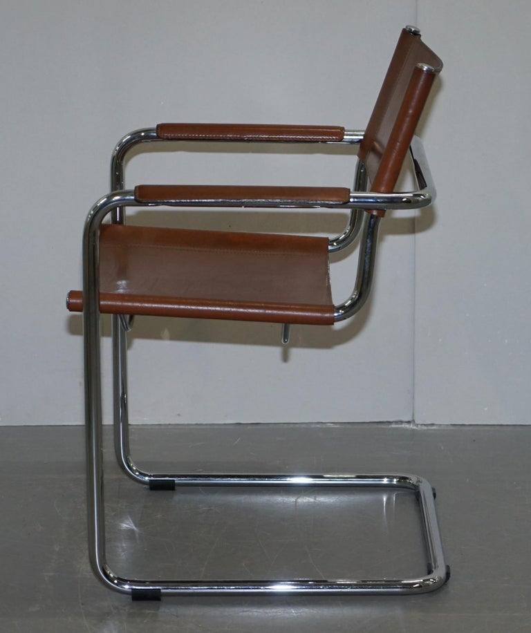 Four 1970s Matteo Grassi MG5 Marcel Breuer Cognac Brown Leather Armchairs 4 For Sale 13