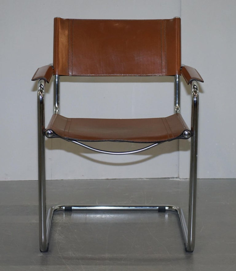 Mid-Century Modern Four 1970s Matteo Grassi MG5 Marcel Breuer Cognac Brown Leather Armchairs 4 For Sale