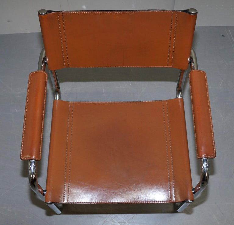 Italian Four 1970s Matteo Grassi MG5 Marcel Breuer Cognac Brown Leather Armchairs 4 For Sale