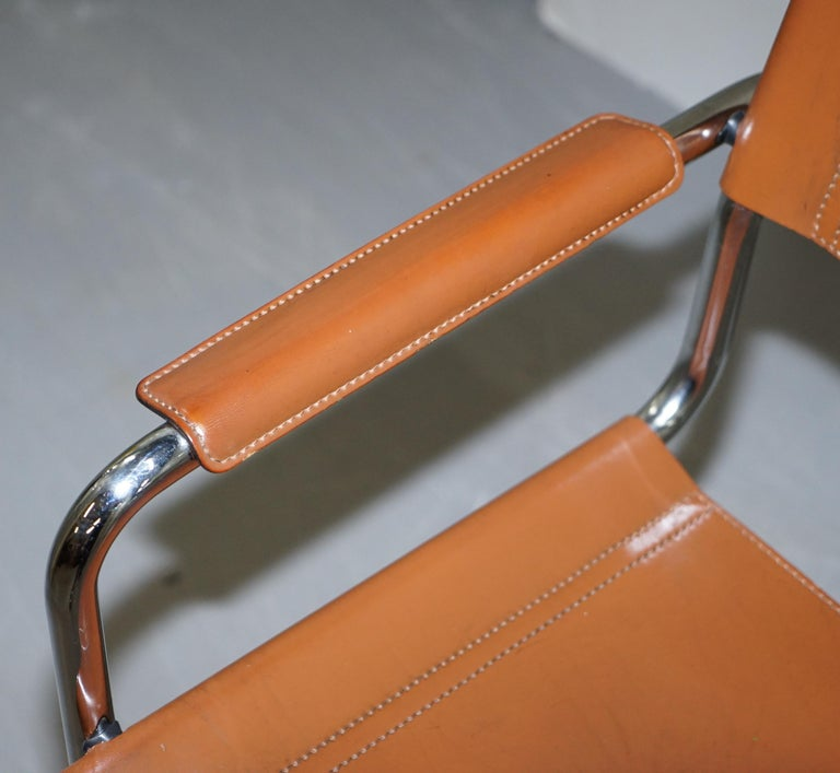 Four 1970s Matteo Grassi MG5 Marcel Breuer Cognac Brown Leather Armchairs 4 In Good Condition For Sale In London, GB