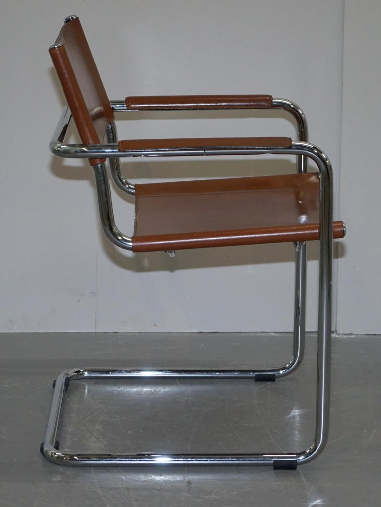 Four 1970s Matteo Grassi MG5 Marcel Breuer Cognac Brown Leather Armchairs 4 For Sale 1
