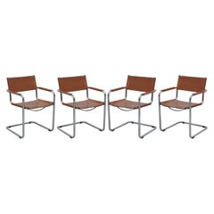 Four 1970s Matteo Grassi MG5 Marcel Breuer Cognac Brown Leather Armchairs 4