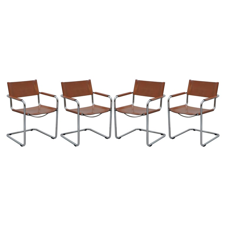 Four 1970s Matteo Grassi MG5 Marcel Breuer Cognac Brown Leather Armchairs 4 For Sale