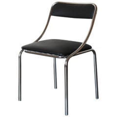Four 1970s Vintage Dning Chairs with Chromed Structure and Faux Leather Seat