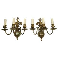 Four 19th Century Classic Dutch Baroque Style Brass Three-Light Sconces