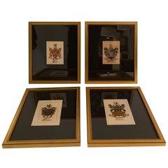 Four 19th Century English Hand Painted Armorial Engravings Heraldic