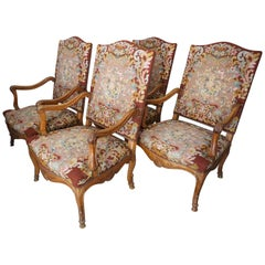 Four 19th Century French Louis XV Tapestry Armchairs