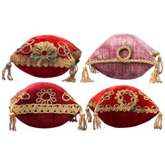 Four 19th Century French Red and Pink Silk Velvet Marriage Cushions Gilt Cord