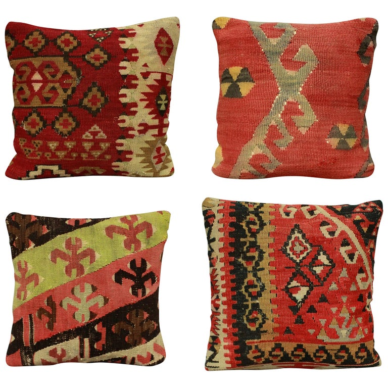 Four 19th Century Kilim Cushions For Sale