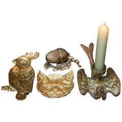 Four 20th Century Brass Trinket Dish Candlestick Cockatoo, Cat, Acorn Sparrow