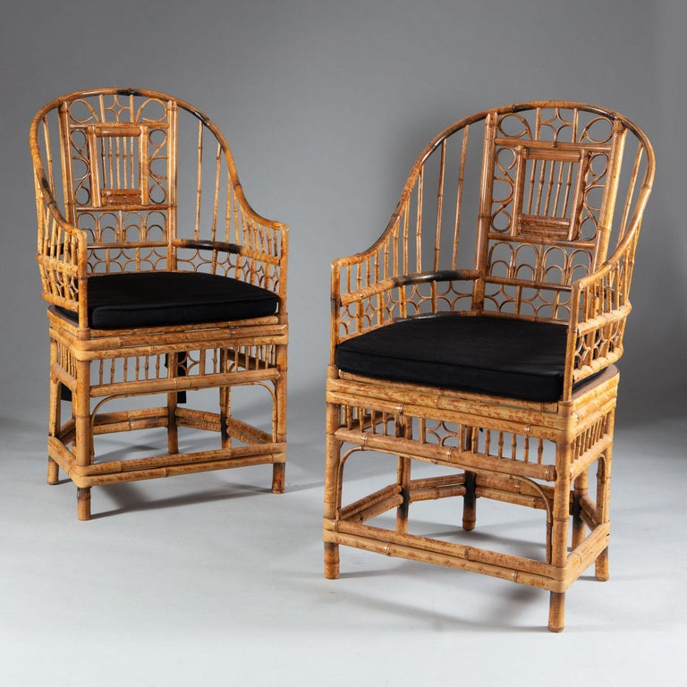 Molded Four 20th Century Chinese Export Bamboo Armchairs For Sale