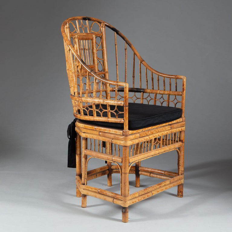 Four 20th Century Chinese Export Bamboo Armchairs For Sale 1