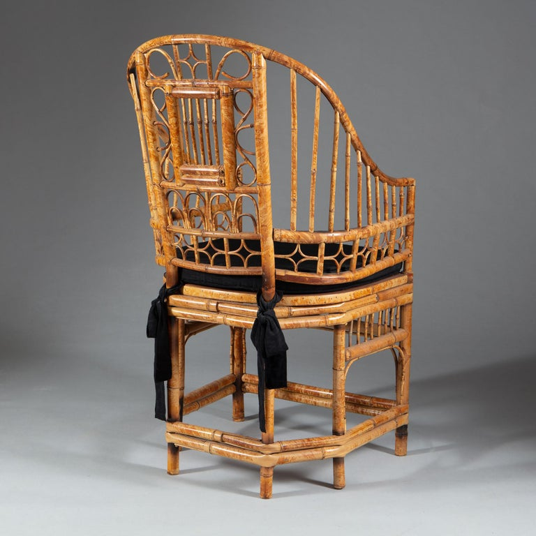 Four 20th Century Chinese Export Bamboo Armchairs For Sale 2